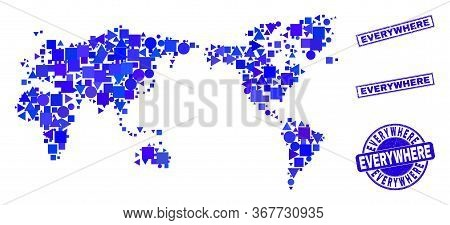 Vector Mosaic World Map. Geographic Collage In Blue Color Tones, And Dirty Round And Rectangle Seals