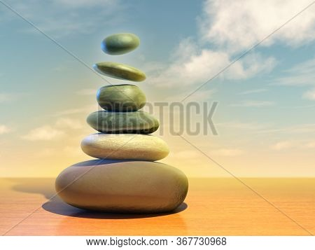 Pile of smooth stones, some of them floating mid-air. 3D illustration.