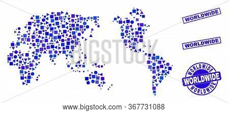 Vector Mosaic Worldwide Map. Geographic Collage In Blue Color Hues, And Dirty Round And Rectangle St