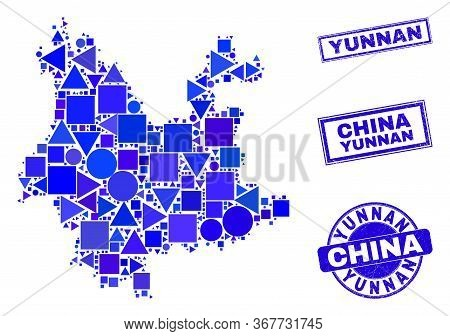 Vector Mosaic Yunnan Province Map. Geographic Scheme In Blue Color Shades, And Rubber Round And Rect
