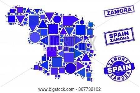 Vector Mosaic Zamora Province Map. Geographic Plan In Blue Color Hues, And Unclean Round And Rectang
