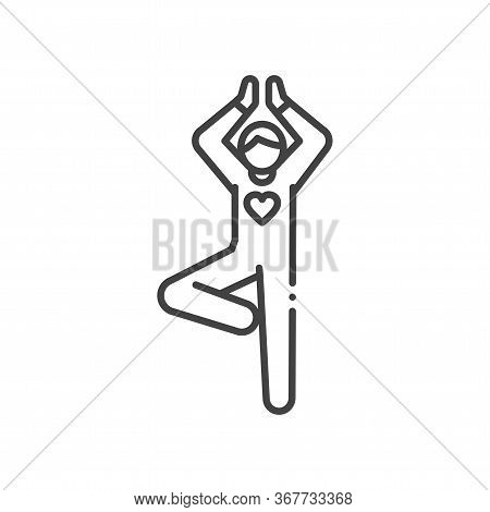 Faceless Person Stands In Tree Pose Vrikshasana Black Line Icon. Yoga Pose. Asana. Home Leisure. Vec