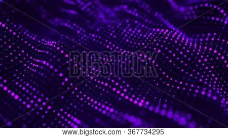 Wave Of Particles. Digital Background With Connected Color Dots. 3d Rendering.