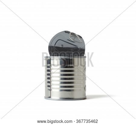 Metal Open Tin Can Isolated On White Background, Close Up