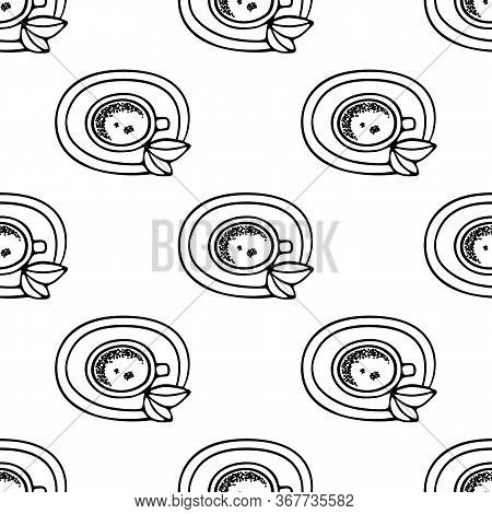 Large Mug Of Coffee Or Cocoa On A Saucer Hand-drawn. Vector Seamless Doodle Pattern On White Backgro