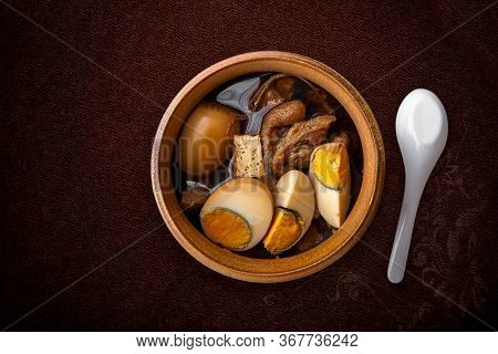 Food Concept Thai Cuisine Pork Belly And Egg With Five Spice Fragrant Stew Moo Palo On Black Slate B