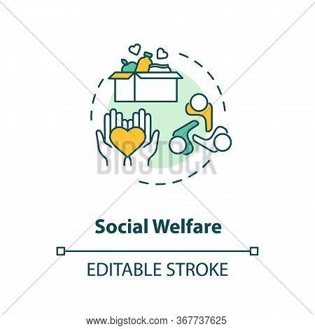 Social Welfare Concept Icon. Charity Idea Thin Line Illustration. Nonprofit Organization. Community