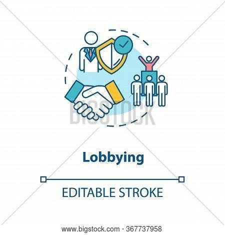 Lobbying Concept Icon. Social Interest Representation Idea Thin Line Illustration. Government Persua