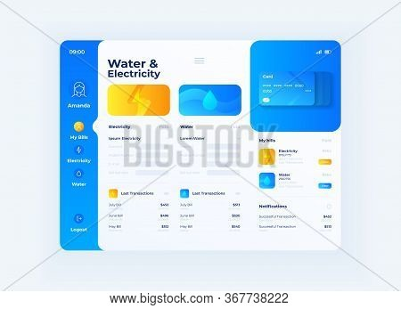 Water And Electricity Prices Tablet Interface Vector Template. Mobile App Page Day Mode Design Layou