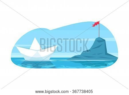 Challenge Metaphor Semi Flat Vector Illustration. Business Objective And Career Goal. Future Discove