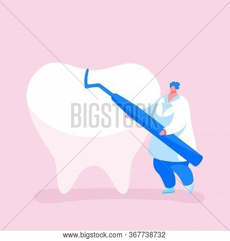 Tiny Dentist Doctor Character Carry Carver Stomatological Instrument Care Of Huge Tooth. Dentistry O