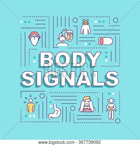 Body Signals Word Concepts Banner. Hunger And Appetite Senses, Digestive Upset. Infographics With Li
