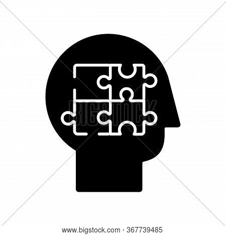 Elaboration Black Glyph Icon. Puzzled Mind. Logical Mindset. Counseling For Psychological Problem. A