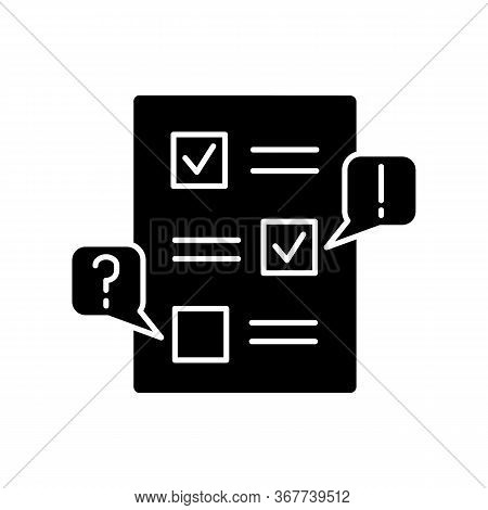 Edit Black Glyph Icon. Checklist For Draft. Examine Paperwork For Errors. Write And Correct List. In