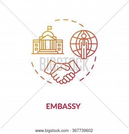 Embassy Concept Icon. Diplomatic Mission Idea Thin Line Illustration. International Affairs. Foreign