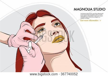 Woman On Beauty Injection, Hyaluronic Acid, Lips Filler, Vitamin Treatment. Cosmetology Procedure Fo