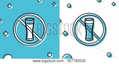 Black No Alcohol Icon Isolated On Blue And White Background. Prohibiting Alcohol Beverages. Forbidde