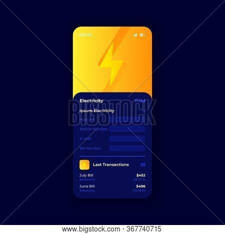 Electricity Bills Smartphone Interface Vector Template. Mobile App Page Dark Blue Design Layout. Uti