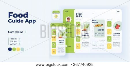 Food Products Selection App Screen Vector Adaptive Design Template. Fresh Lunch Ingredients Applicat