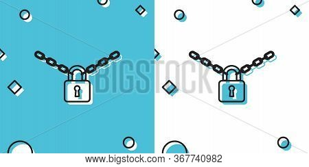 Black Metal Chain And Lock Icon Isolated On Blue And White Background. Padlock And Steel Chain. Rand