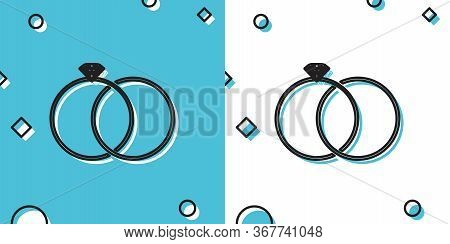 Black Wedding Rings Icon Isolated On Blue And White Background. Bride And Groom Jewelery Sign. Marri