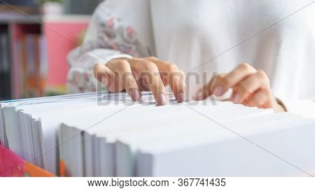 Business People Working Of Documents Or Paperwork, Report File Information By Female Office Workers