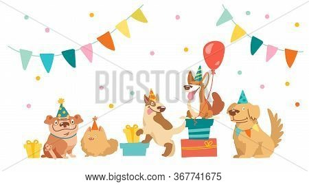 Bulldog, Bull Terrier, Corgi And Spitz Characters Celebrate Happy Birthday Party. Cute Kawaii Dogs W