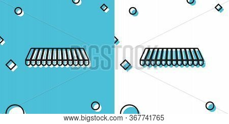 Black Striped Awning Icon Isolated On Blue And White Background. Outdoor Sunshade Sign. Awning Canop