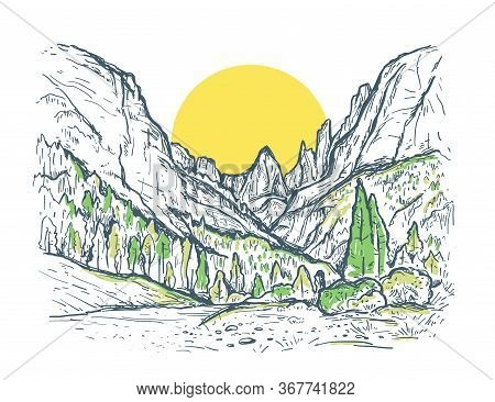 Hand Drawn Sketch Illustration With A Mountains, Green Trees And Yellow Sun. Nature Summer Vintage V