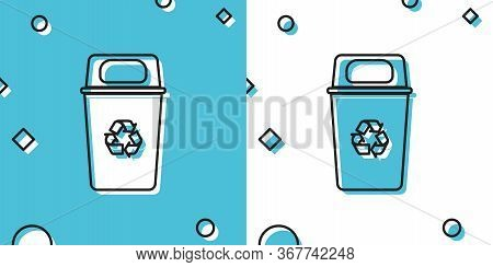 Black Recycle Bin With Recycle Symbol Icon Isolated On Blue And White Background. Trash Can Icon. Ga
