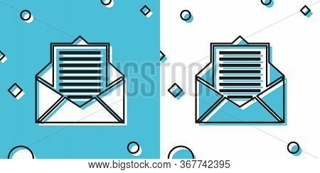 Black Mail And E-mail Icon Isolated On Blue And White Background. Envelope Symbol E-mail. Email Mess
