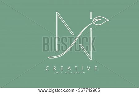 Leaf Cut N Letters And Green Background For Business. Eco Letter Vector Illustration.