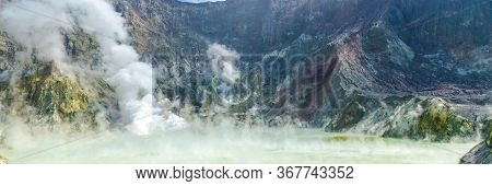 Active Volcano At White Island New Zealand. Volcanic Sulfur Crater Lake. Web Banner