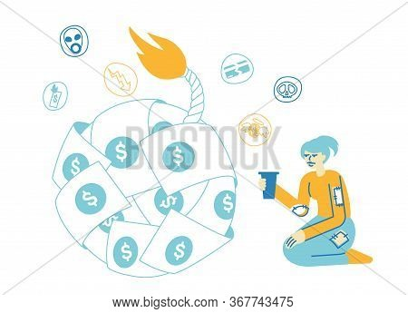Global Economics Crisis. Female Character Sitting At Huge Bomb Made Of Dollar Bills With Burning Fus