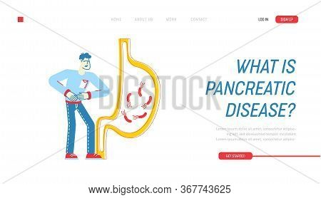 Gastroenterology Landing Page Template. Patient Character Touching Sick Belly Suffering Of Stomach A