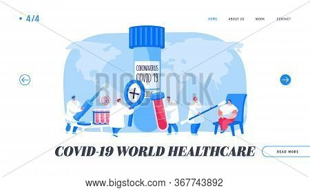 Covid19 Diagnostics Landing Page Template. Doctor Character Take Express Test Sampling To Determine
