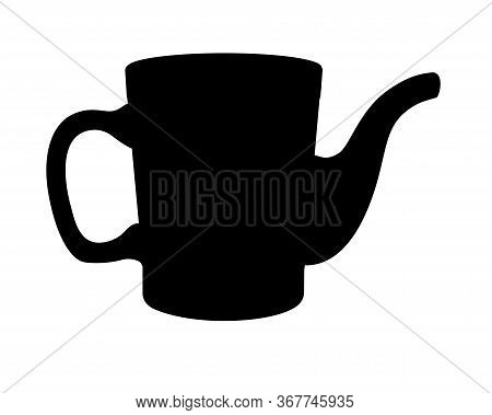 Silhouette Of A Garden Watering Can. Watering Can - Vector Black Silhouette For Logo Or Pictogram. W