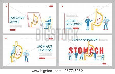 Gastroenterology Landing Page Template Set. Medics Characters At Huge Stomach. Man Suffer Of Gastrit