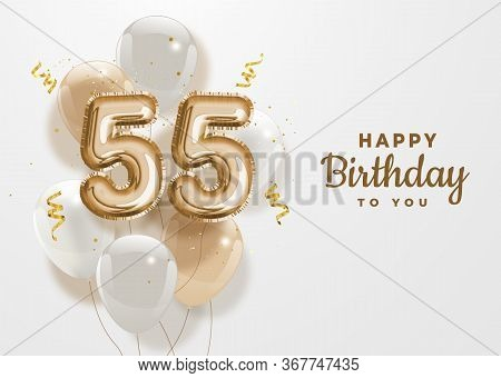Happy 55th Birthday Gold Foil Balloon Greeting Background. 55 Years Anniversary Logo Template- 55th