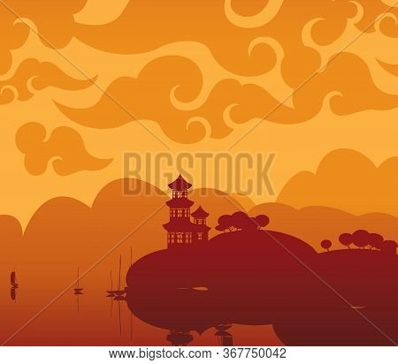Vector Landscape With A Pagoda On The Shore Of A Lake Or River In Brown And Orange Colors. Decorativ