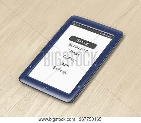 Blue E-book Reader On Wooden Desk, 3d Illustration