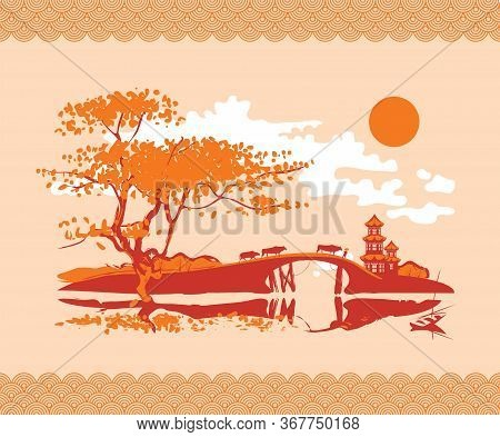 Vector Banner In The Style Of Japanese And Chinese Watercolors In Brown And Orange Colors. Decorativ