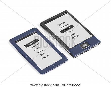 E-book Readers With Different Designs On White Background, 3d Illustration