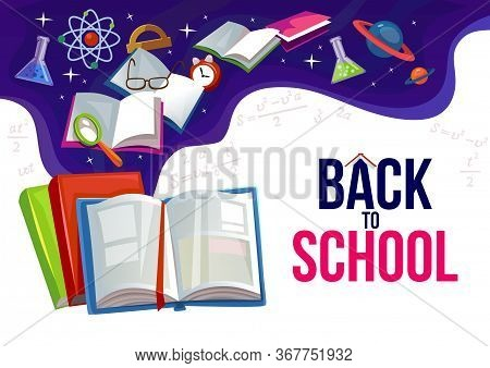 Back To School Banner With Education Items Vector Illustration. Flyer With Notebooks And Subjects Ca