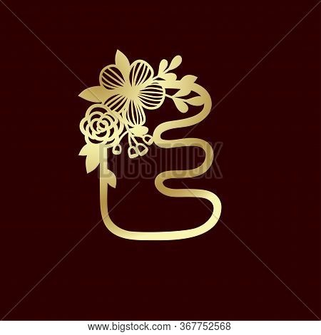 Delicate Pattern For Cutting Letter E With Tender Wildflowers. Paper Art. Golden Die Cutting For Scr
