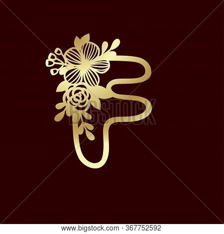 Delicate Pattern For Cutting Letter F With Tender Wildflowers. Paper Art. Golden Die Cutting For Scr