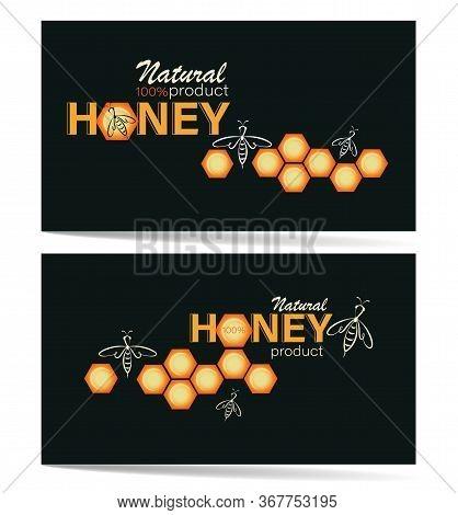 Natural Honey. Honeycomb, Swarm Bees. Business Cards, Emblem, Label. Linear Bee Logo, Honeycomb