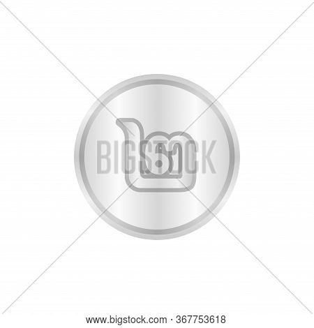 Token Money Thai 2 Baht Isolated On White, (2 Alphabet Of Thai Symbol)