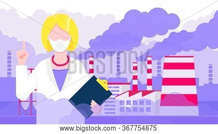 Confused Woman Doctor In Mask Against Smog. Fine Dust, Air Pollution, Industrial Smog Protection Con