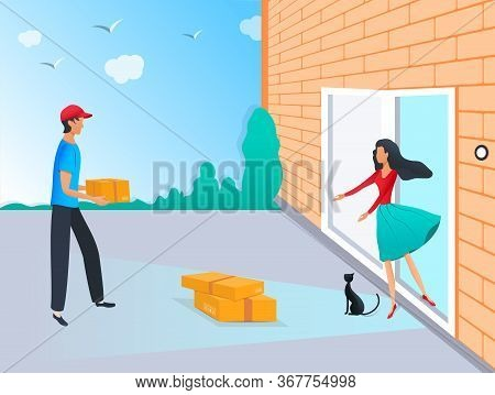 Contactless Delivery To Home Concept. Courier With Parcel Box And Woman Near The Door With Safe Dist